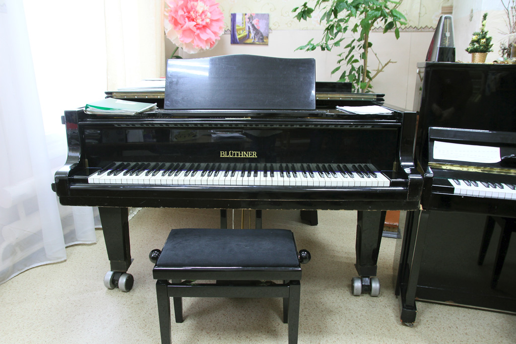 Большой концертный рояль «Блютнер». Его длина 3,7метра, авес— 700 килограммов