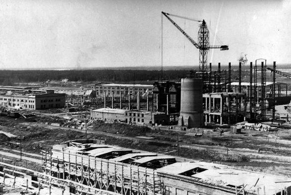 Общий вид строительной площадки будущего КЦБК, 1958 год
