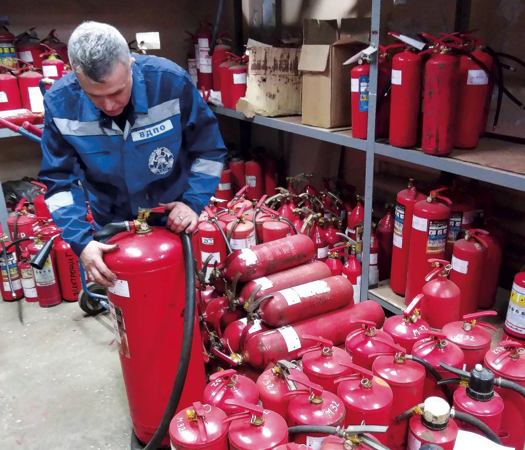 Освидетельствование огнетушителей