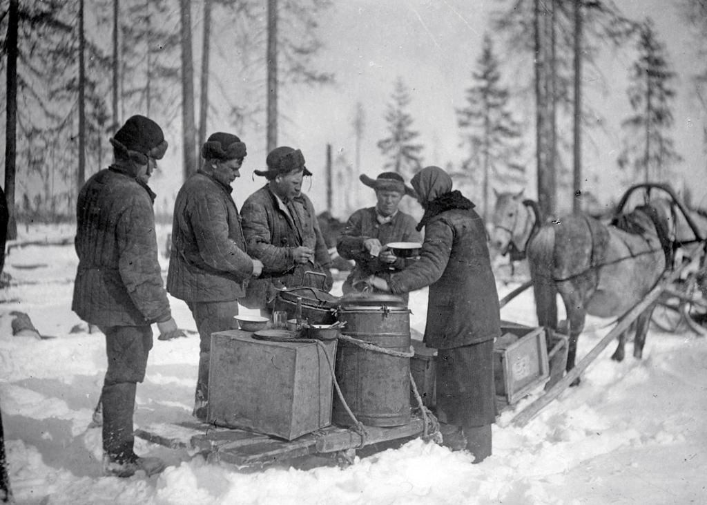Горячий обед вделянке в33-м квартале. Плесецкий механический лестранхоз, 1941 год