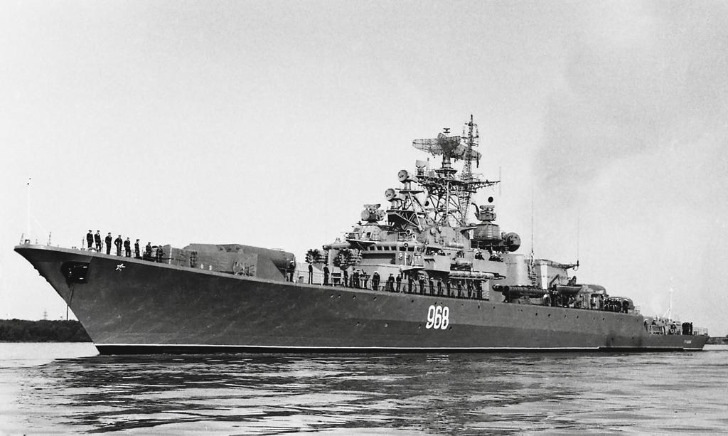 Сторожевой корабль «Громкий» нарейде Северной Двины. 1991год