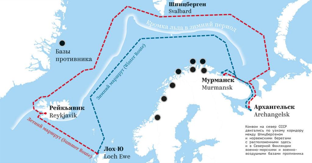 Маршруты северных конвоев